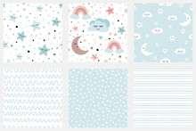 Stars Smiling Clouds Moon Kids Repeated Background Set Of Background Patterns In Pale Blue Striped Design Baby Shower, Birthday Scrapbook Greeting Cards Gift Wrap Surface Textures Vector Illustration.