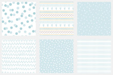 Baby Boy Shower Blue Collection Hand Drawn Seamless Pattern Set Blue Simple Textures For Background Vector