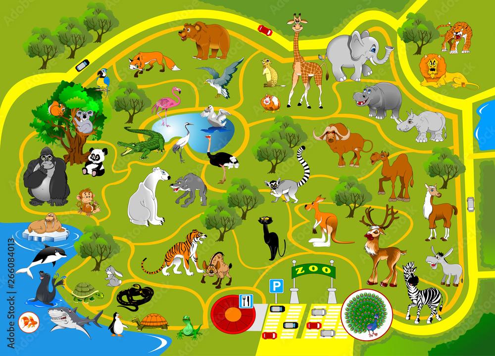 Fototapeta zoo map
