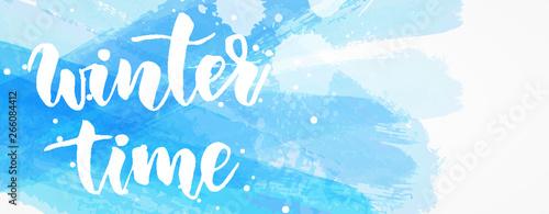 Fotografía  Winter time brushed blue banner