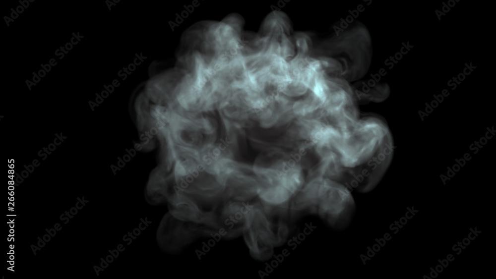 Fototapety, obrazy: Thin layer of smoke ball black background 3d render