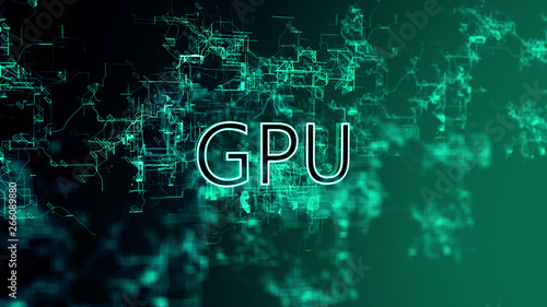 Fotografía  The Digital Network. Text GPU. Blue wires on gradient background