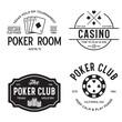 Poker related labels emblems badges design elements set. Texas holdem poker club tournament logotype collection.