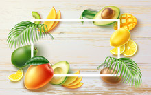 Summer Banner With Realistic Fruits, Tropical Leaves. Hot Summer Advertising Poster For Holiday Party, Fresh Product Vector Design. Banana Kiwi Mango Avocado Orange Slices On Wooden Background