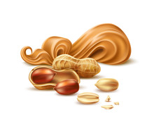 Realistic Peanut Butter Package Design With 3d Arachis Pods With Shell And Nuts. Vector Delicious Cream For Natural Product Ad Design. Tasty Cream For Sweet Snacks.