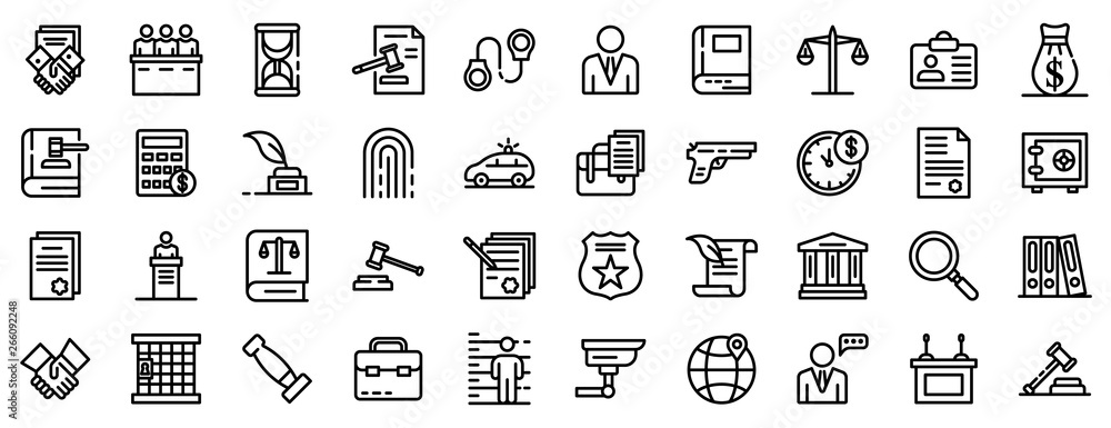 Fototapeta Lawyer icons set. Outline set of lawyer vector icons for web design isolated on white background