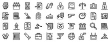Lawyer Icons Set. Outline Set ...