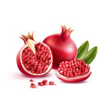 Realistic Pomegranate Whole, H...
