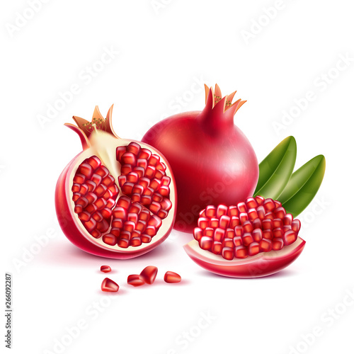 Fototapeta Realistic pomegranate whole, half and seeds with green leaves