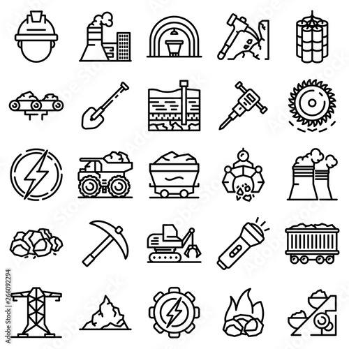 Stampa su Tela Coal industry icons set