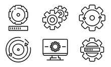 System Update Icons Set. Outli...