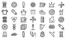 Tailor Icons Set. Outline Set ...