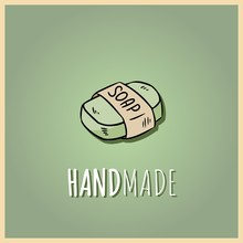Handmade Natural Soap Logo. Vector Hand Drawn Illustration Of Organic Cosmetic. Great For Label, Logo, Banner, Packaging, Spa And Body Care Promotion