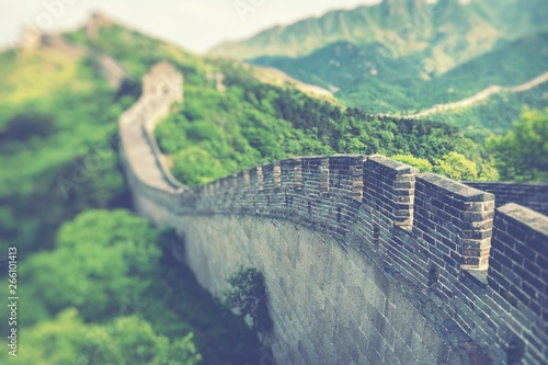 Muraille de Chine Panoramic view of Great Wall of China at Badaling in the mountains in the north of the capital Beijing.