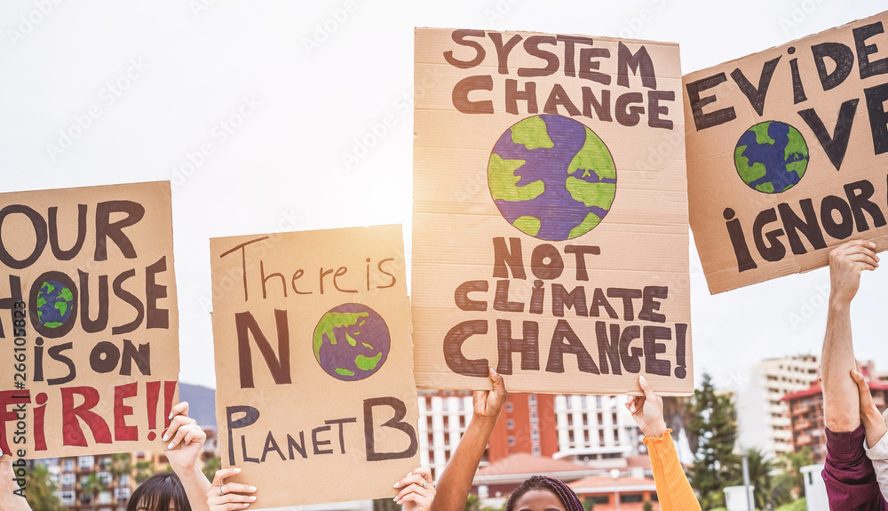 Fototapety, obrazy: Group of demonstrators on road, young people from different culture and race fight for climate change - Global warming and enviroment concept - Focus on banners