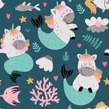 Seamless Background With Underwater Unicorns