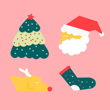 Flat Design Of Christmas Elements, Santa Claus, Pine Tree And Reindeer, Idea For Gift Wrapping Paper And Decoration