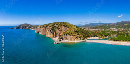 Aerial view of Palinuro coast and natural arch, Italy - 266108067