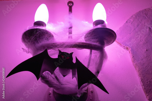 Decorative lamp on the wall in the web with the figure of a bat. Toned. Close up. Soft focus. - 266108081