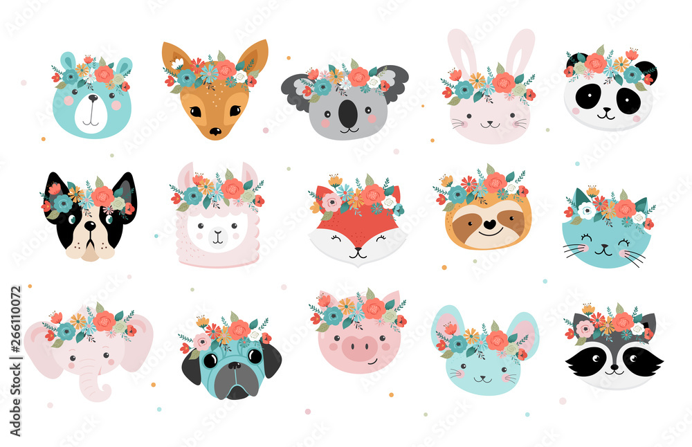 Fototapeta Cute foxes heads with flower crown, vector seamless pattern design for nursery, poster, birthday greeting cards