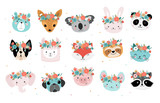 Fototapeta Fototapety na ścianę do pokoju dziecięcego - Cute foxes heads with flower crown, vector seamless pattern design for nursery, poster, birthday greeting cards