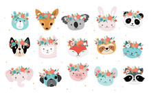 Cute Foxes Heads With Flower C...