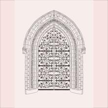 Gothic Gate. Hand Drawn Sketch Vintage Doors.