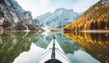 Kayak On Alpine Lake In Fall