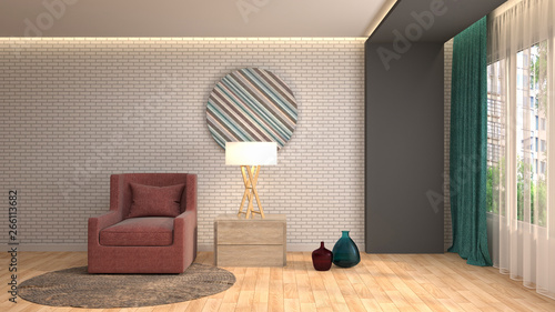 obraz lub plakat interior with chair. 3d illustration
