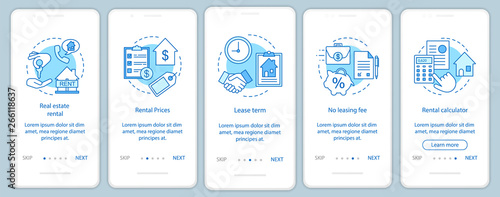 Property rental onboarding mobile app page screen with linear concepts