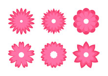 Set Of Color Flowers Icons. Greeting Cards. Stickers And Labels. Mothers Day, Womens Day.