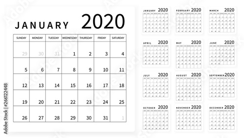Obraz Mockup Simple calendar Layout for 2020 year. Week starts from Sunday - fototapety do salonu