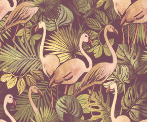 Panel Szklany Popularne Seamless pattern with tropical leaves and pink flamingos. Tropical background.
