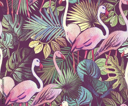 tropikalne-liscie-i-rozowe-flamingi-retro