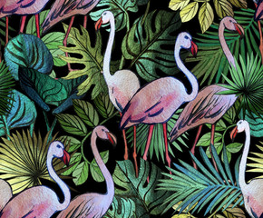 Fototapeta Do łazienki Seamless pattern with tropical leaves and pink flamingos. Tropical background.