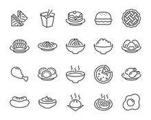 Set Of Food Icons, Such As Pizza, Noodle, Rice, Pie, Steak, Fried Chicken, Sushi, Dumpling