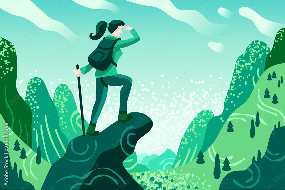 Obraz Explorer Discovery, Watch and Explore Touristic valley with traveller backpack. Flat color icons, creative illustrations, isometric infographic images, web banner - Vector fototapeta, plakat
