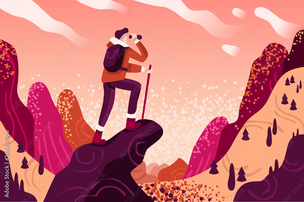 Fototapety, obrazy: Explorer discovery, watch and explore touristic valley with traveller backpack. Flat color icons, creative illustrations, isometric infographic images, web banner vector