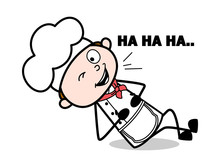 Lying Down Laughing - Cartoon Waiter Male Chef Vector Illustration