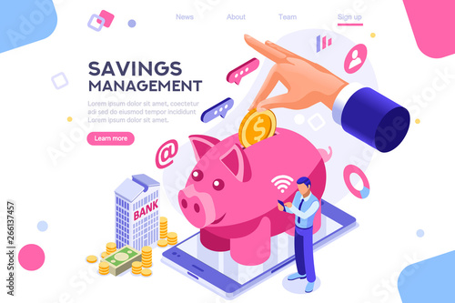 Fototapeta Depositing, banknote banner. Money on smartphone, coin holding. Bank concept for infographics, hero images. Flat isometric vector illustration. Web banner between white background, between empty space obraz