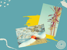 Creative Collage With Hand Drawn Doodle Design Elements. Photos Of Palm Trees Sea Shell Washed By Ocean Waves On Beach On Duotone Turquoise Yellow Background. Travel Vacation Wanderlust Concept