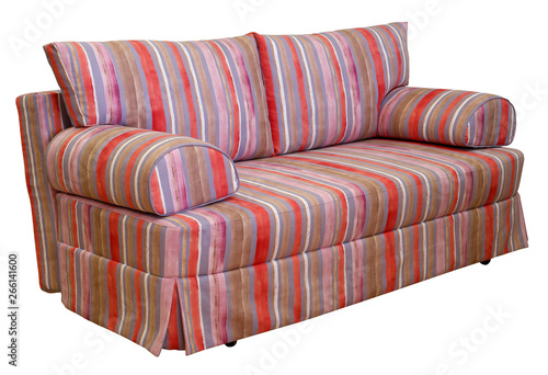 Colorful striped sofa on a white background. Stripes of cloth of red ...