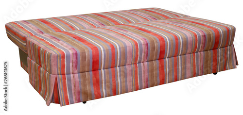 Colorful striped sofa on a white background. Stripes of ...