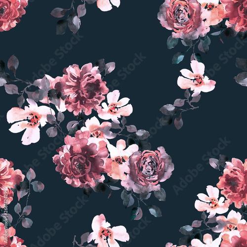 kwiatowy-wzor-roze-kwitna-akwarela-z-lisci-bogaty-ornament-botaniczny-w-stylu-vintage-projektowanie-mody-dla-tkaniny-tkaniny-tek