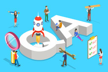 Isometric Flat Vector Concept Of QA, Quality Assurance, Software App Testing, Coding And Programming, Question And Answer, SQA Team.