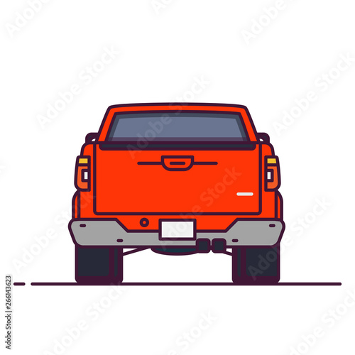 Rare View Of Big Pickup Line Style Vector Illustration Off