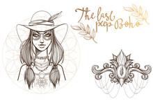 A Woman In A Broad-brimmed Hat. A Set Of Outline Illustrations With Sketches Of Tattoos.