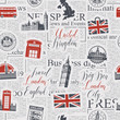Vector seamless pattern on UK and London theme with inscriptions, British symbols, landmarks and flag in retro style on the background of news paper. Can be used as wallpaper, wrapping paper or fabric