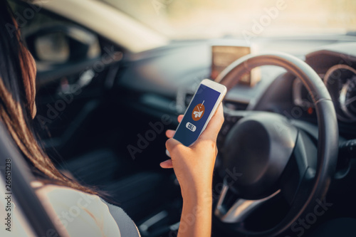 Young Woman use smartphone app calling for assistance after accident car insurance Canvas Print