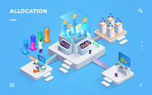 Banking Exchange Rate Or Payment Distribution Banner. Isometric Sign For Money Allocation. Computer Analytics For Currency Or Gold Ballance, Fund Rate. Federal Reserve Bank And Inflation, Invest Theme